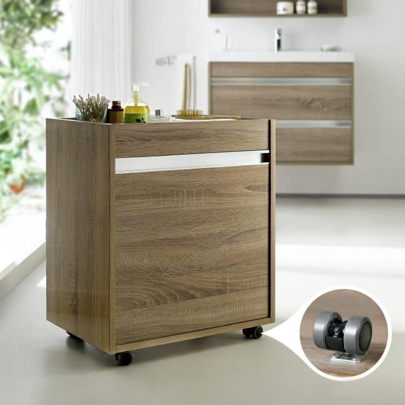 White Oak Or  Brown Oak Side Stand Alone Bathroom Cabinet - Peony-Me Sereis