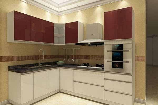 Simple Waterproof Plywood High Glossy Grey & White Kitchen Cabinet