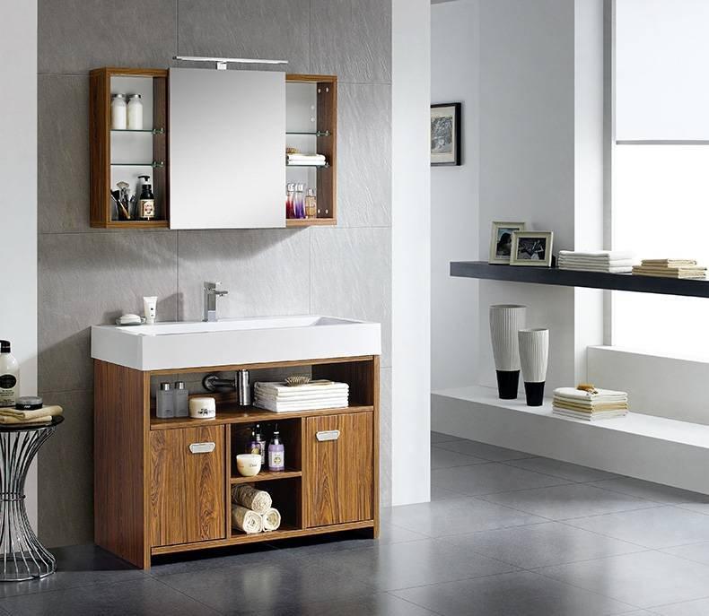Sander Wood Floor Standing Bathroom Cabinet With 2-Door and Shelf - Harbour Series