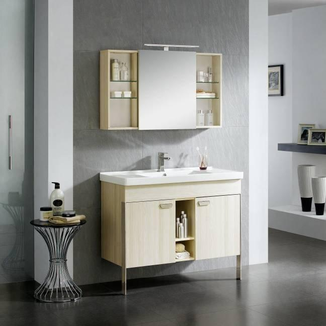 Light Paulownia Wood Floor Standing Bathroom Cabinet with Doors - Paloma Series