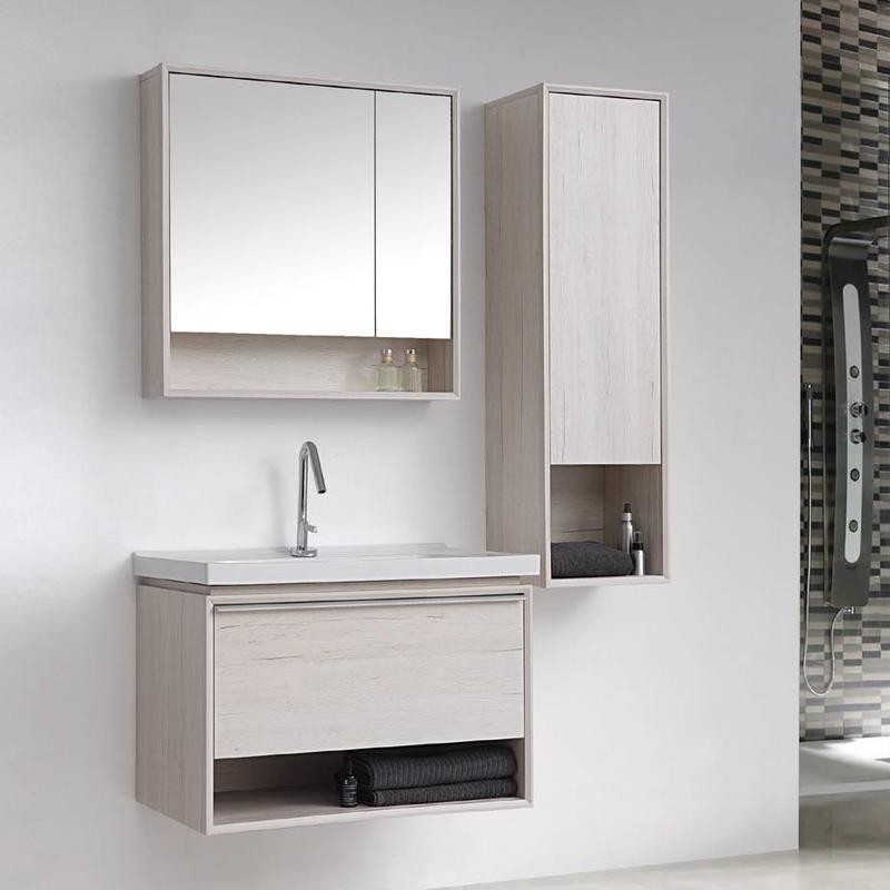 Crack White Oak Wall Mounted Bathroom Cabinet - Amor Series