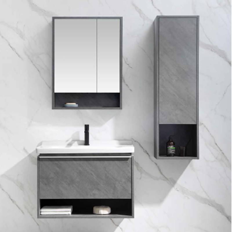 Crack White Oak Wall Mounted Bathroom Cabinet - Amor Series Pro