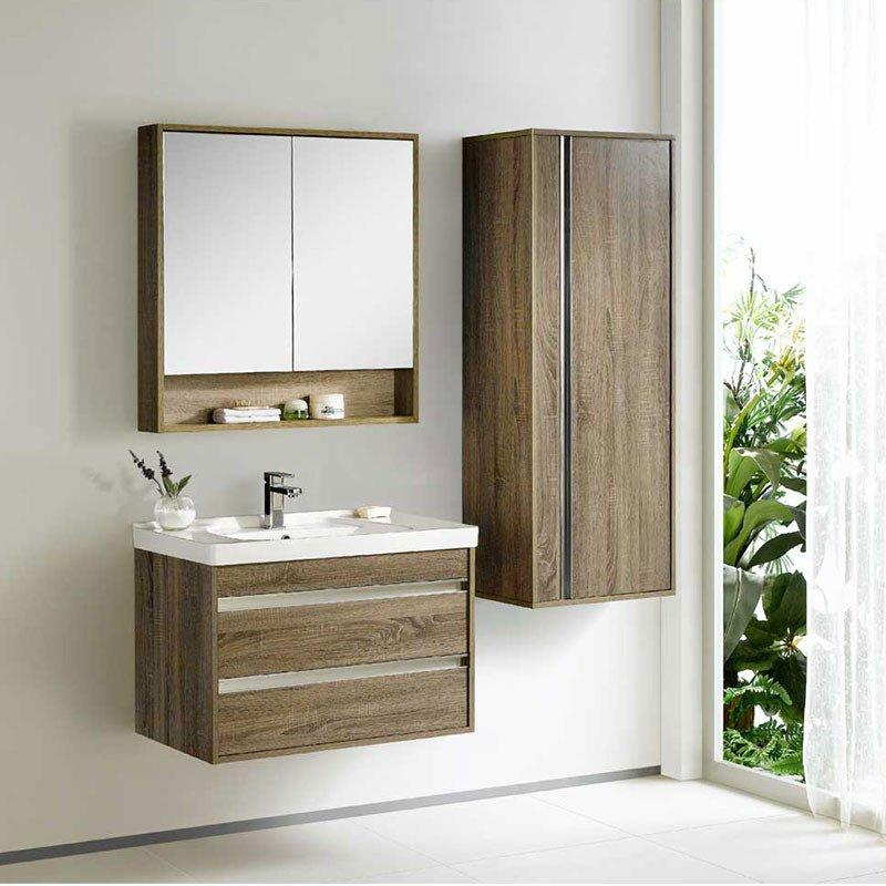 White Oak Wall Mounted Bathroom Cabinet with Two Drawers - Peony-Me Series