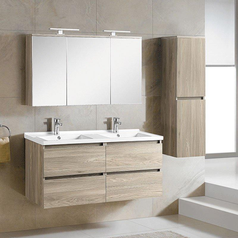 Grey Walnut Wall Mounted Bathroom Cabinet with Drawers - Paris Spring Series