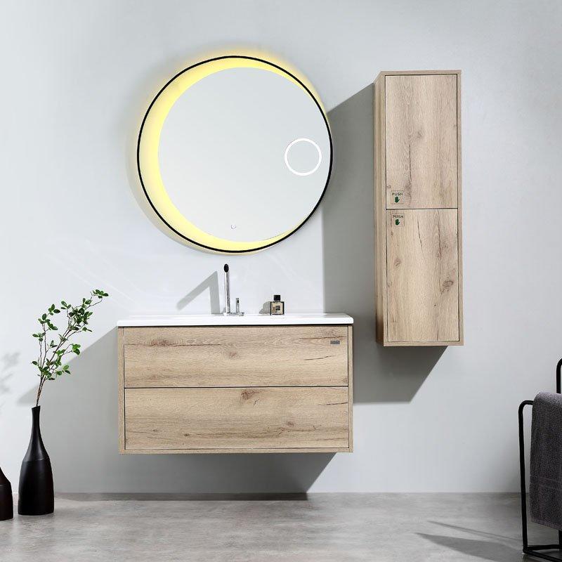 Canyon Oak or Cement Grey Wall Mounted  Bathroom Cabinet - Tono Series