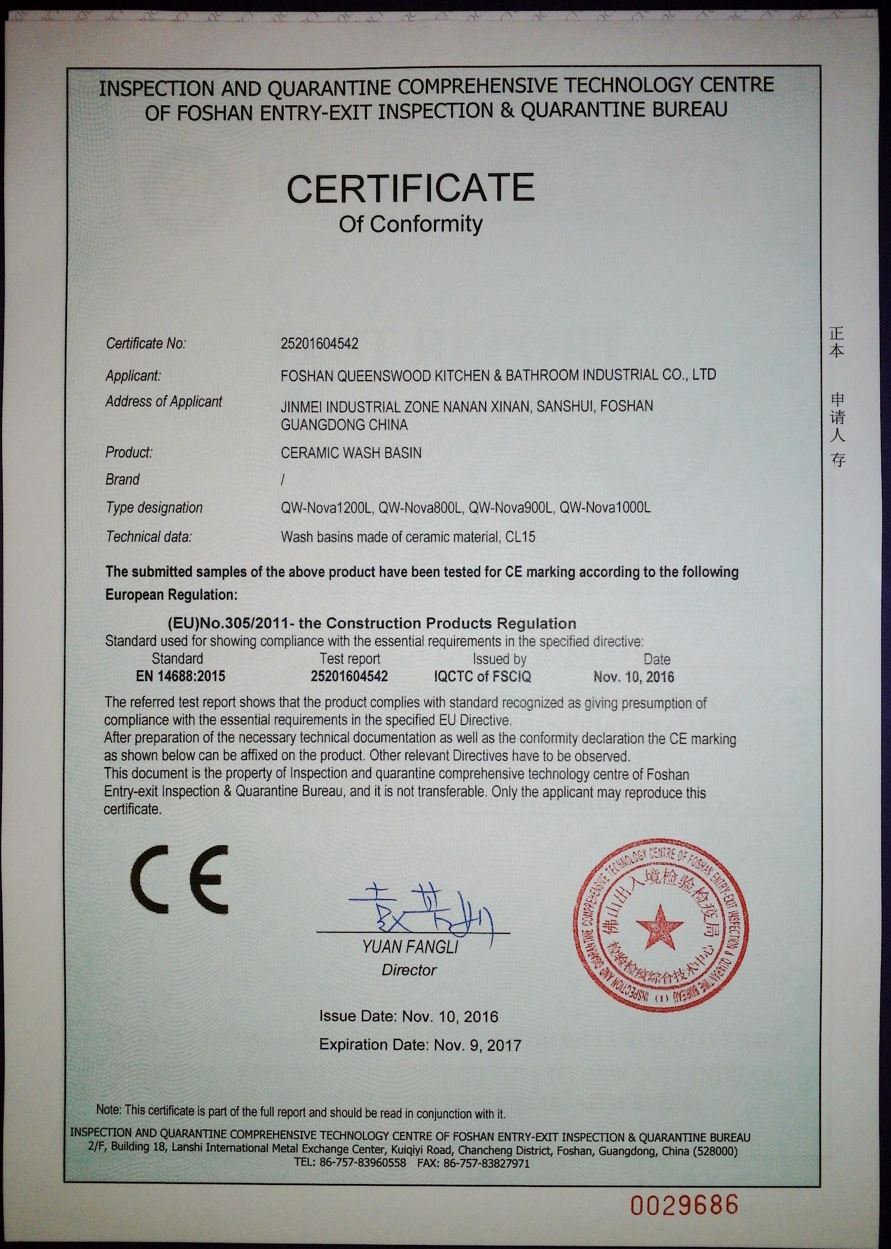 Basin Certificate of Conformity