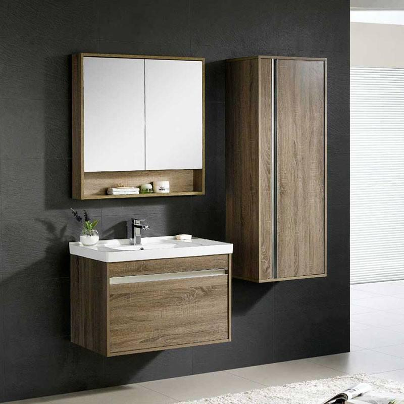 White Or Brown Oak Wall Mounted Bathroom Cabinet with One Drawer - Peony-Me Series