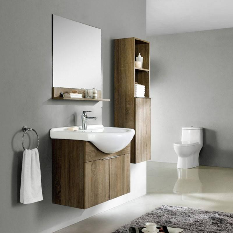 White Oak and Brown Oak Wall Mounted Bathroom Cabinet - Evergreen Series