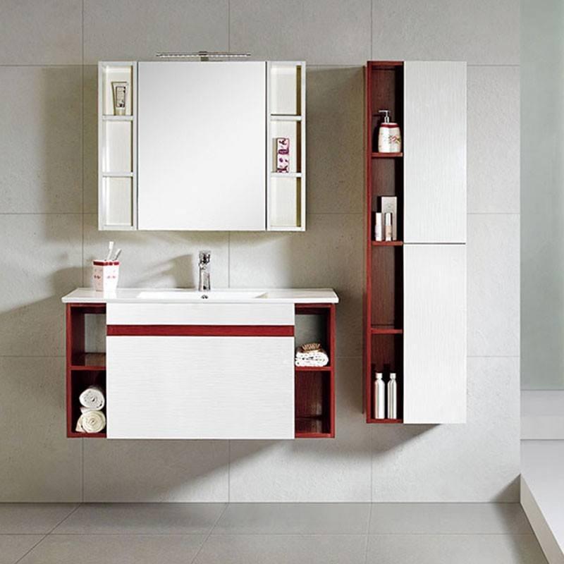 Dark And Light Paulownia Wood Wall Mounted Bathroom Cabinet - Lotus Series