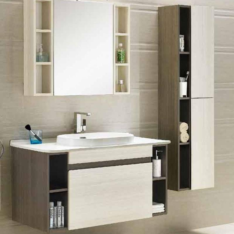 Dark & Light Paulownia Wood Wall Mounted Bathroom Cabinet -  Lotus Series