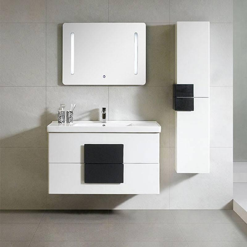 Simple Black and White Wall Mounted Bathroom Cabinet - Geo Series