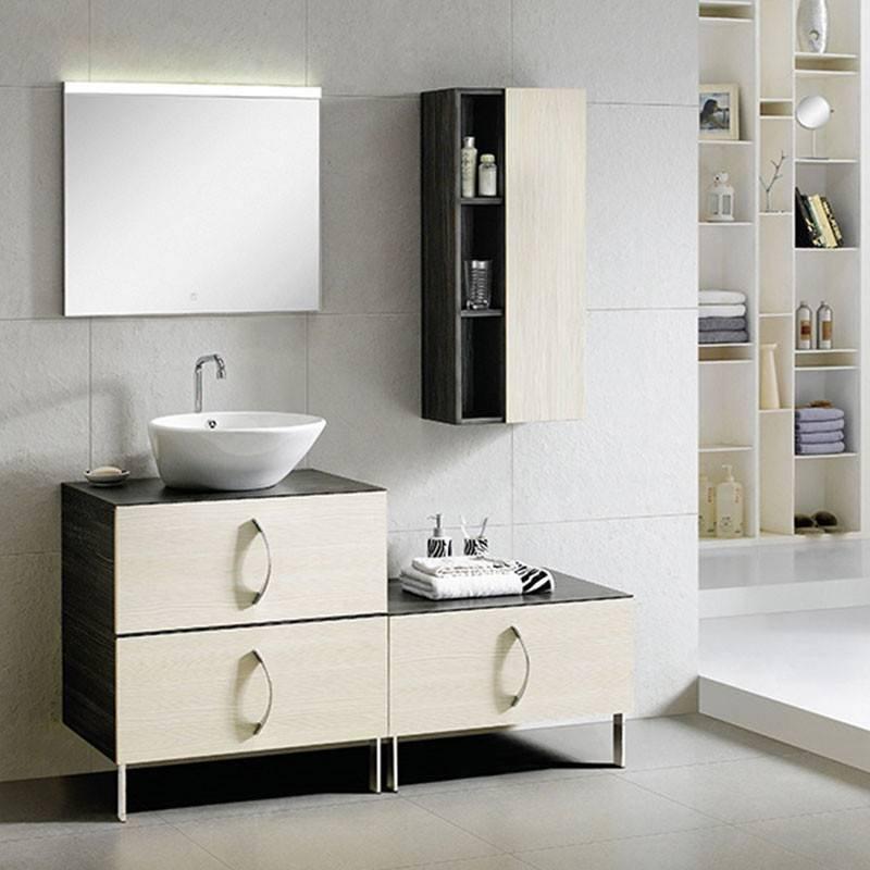 Dark and Light Cedar Wood Floor Standing Bathroom Cabinet - Touch Series