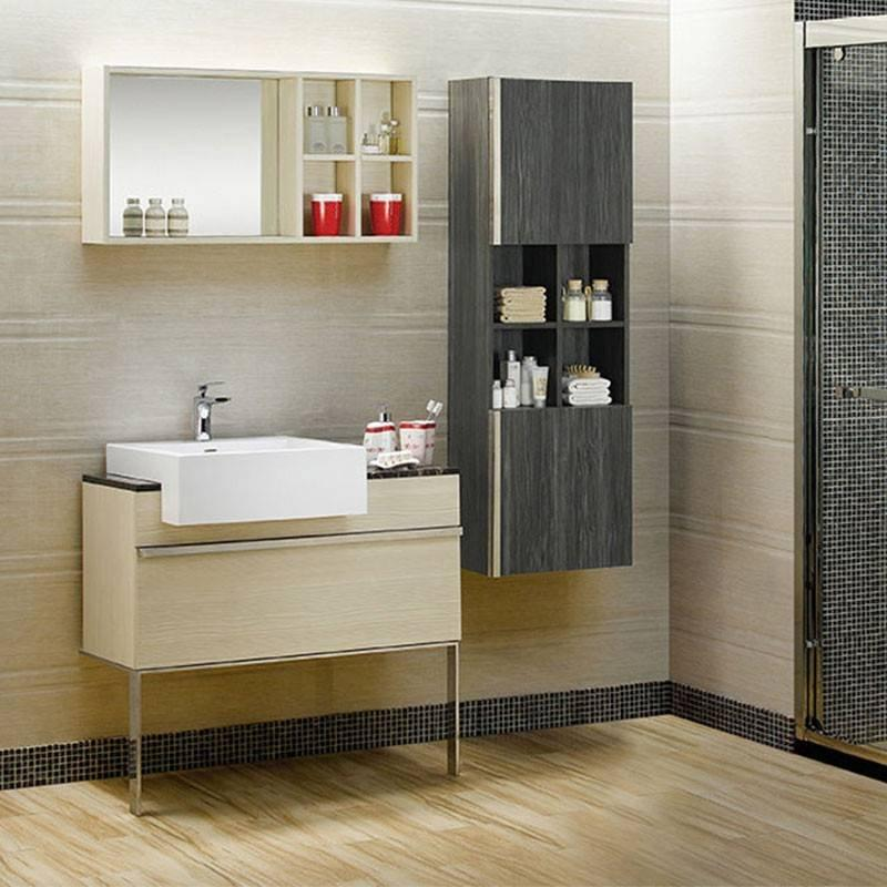 Ply-Wood Free Standing Bathroom Cabinet with One Drawer ,Stainless Steel Feet & Marble Top - Snow Drop Series