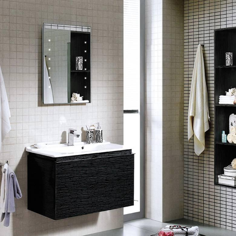 Pure Black & Silver Wall Mounted Bathroom Cabinet with Drawers - Orchid Series