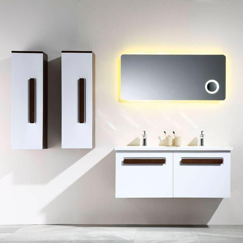 White and Walnut Wall Mounted Bathroom Cabinet With Drawers - Nova Series