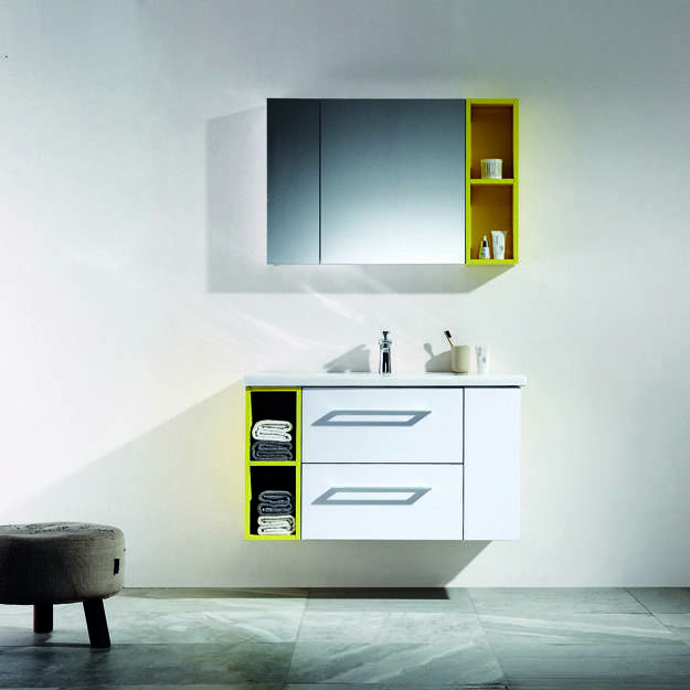 White & High Glossy Yellow Wall Mounted Bathroom Cabinet With Drawers - Moda Series