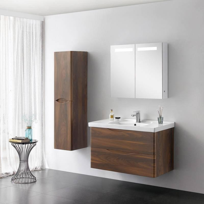 Brown Elm Wall Mounted Bathroom Cabinet with Drawers - LUNA Series